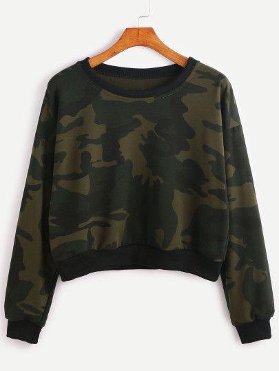 eaf4764a99 Contrast Trim Camo Print Sweatshirt