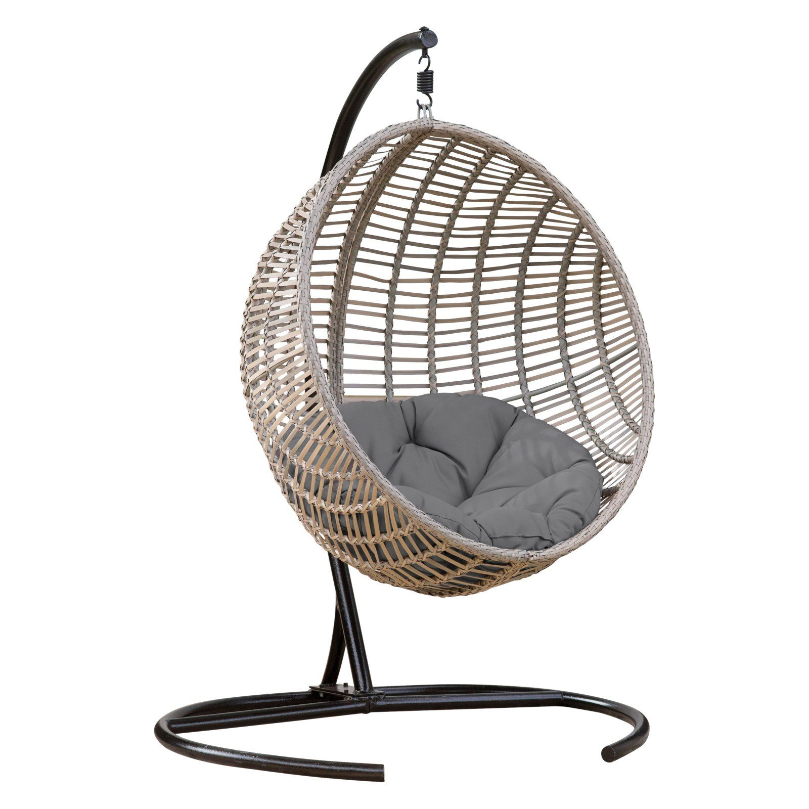 Mid Century Rattan Chair, Belham Living Resin Wicker Kambree Rib Hanging Egg Chair With Cushion And Stand Walmart Com In 2020 Hanging Chair Outdoor Hanging Egg Chair Swinging Chair