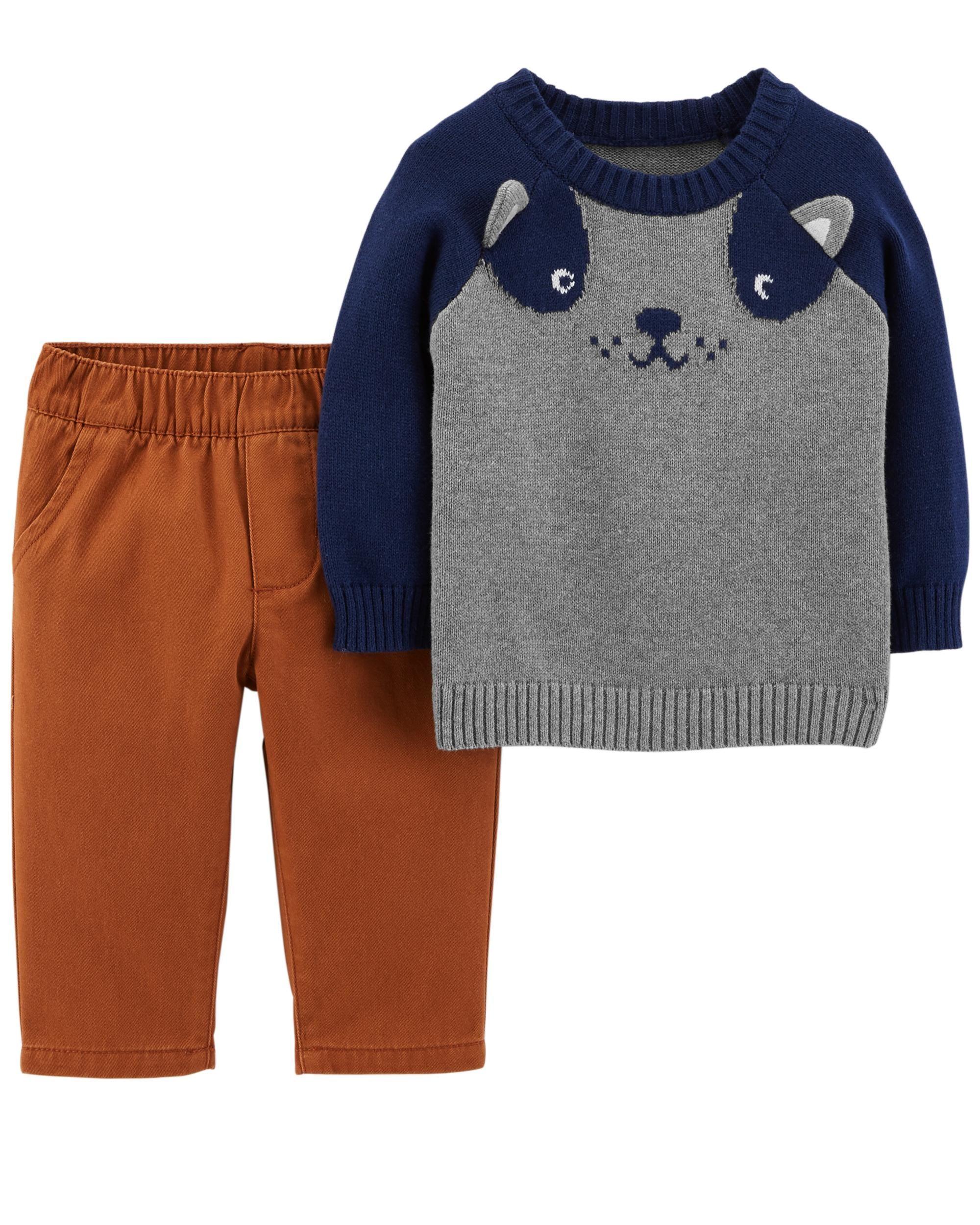 2 Piece Dog Sweater Twill Pant Set Carters Pinterest Baby Jumper 5 In 1 Boy Carterscom