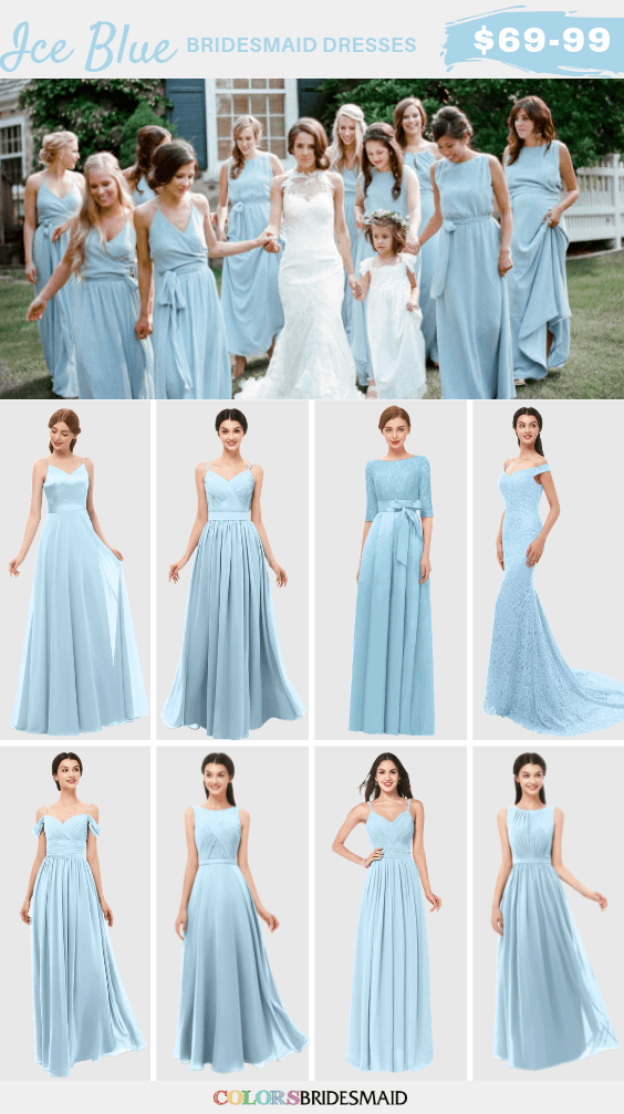 Blue Bridesmaid Dresses Ice Blue color in 2020 | Light ...