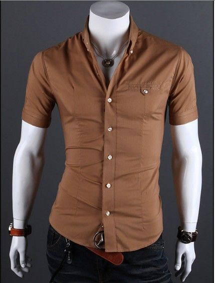 8dbe5e1c29e9 Slim fitting short sleeve button-down shirt - camel color