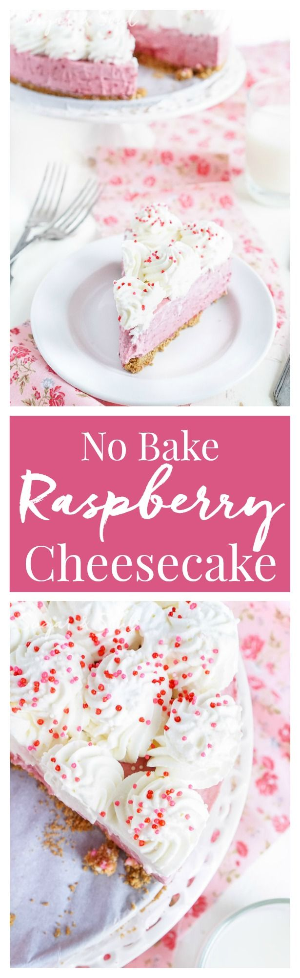 This No Bake Raspberry Cheesecake is light and creamy and loaded with tart raspberries!