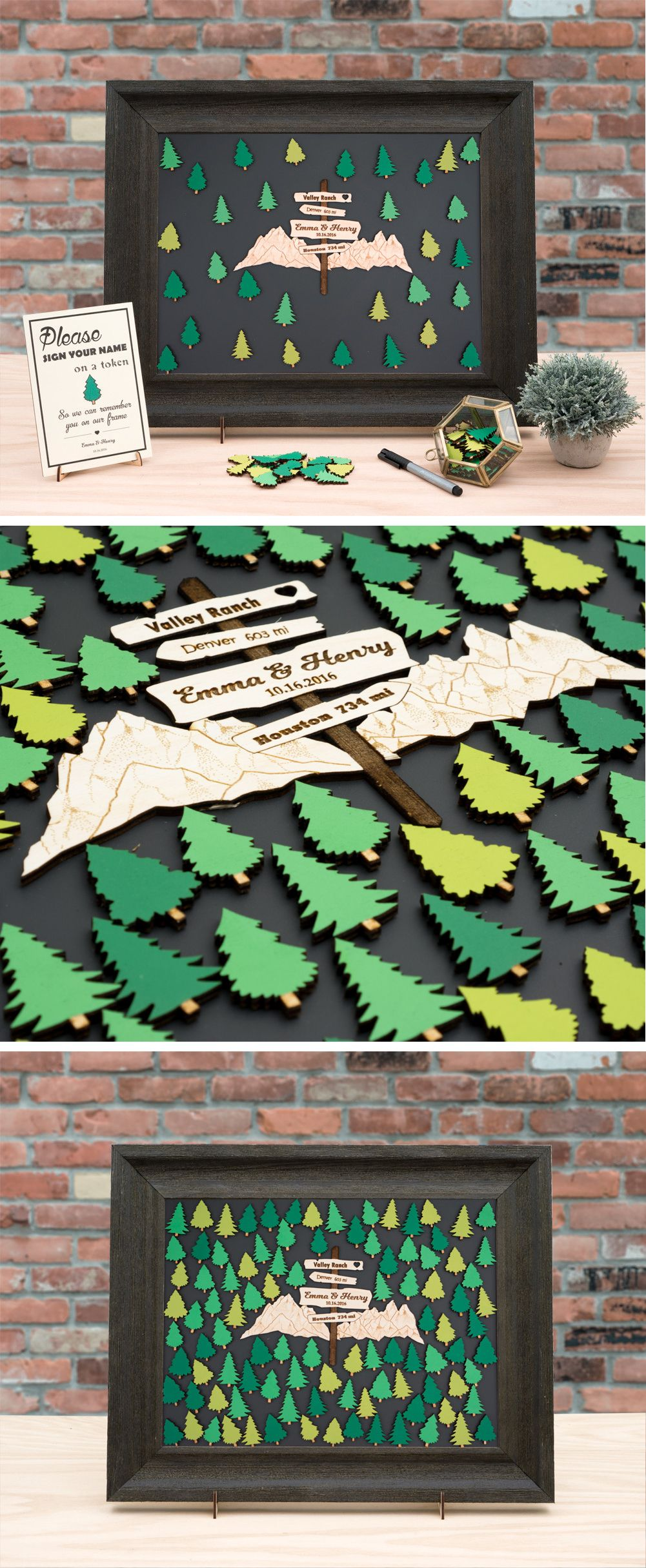 Wedding Guest Book Alternative - Nature, Forest, Hiking, Mountain Theme / Personal Customizable Unique Sign In by TokenGram #weddingguestdress