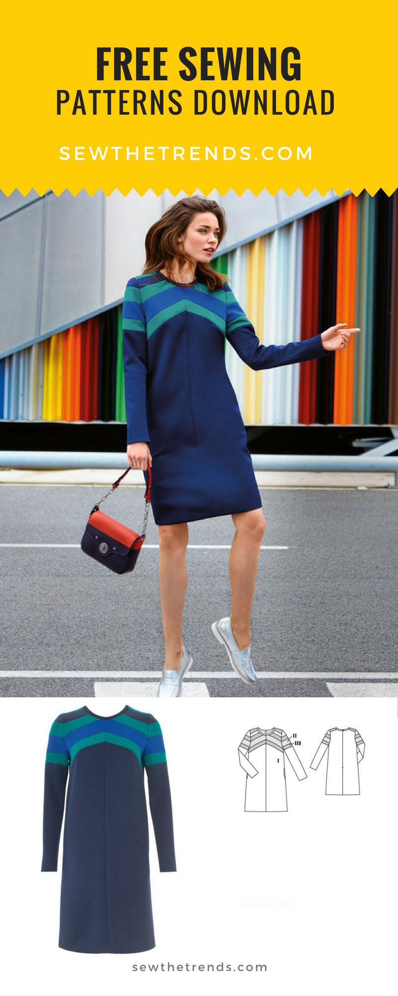 Long Sleeve Scuba Dress Sewing Pattern - Free | Pinterest | Nähen ...
