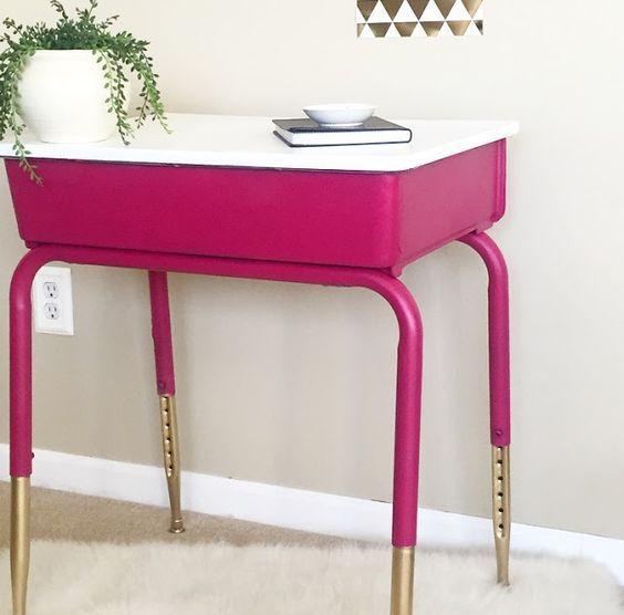 School Desk Makeover, Pink Metal School Desk