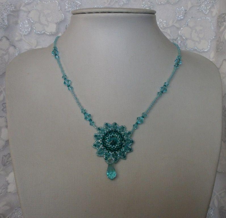 Turquoise Teal náhrdelník s Swarovski