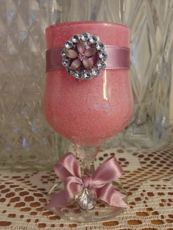 Romantic pink small wine glass. by DesignedbyDivas on Etsy, $24.95