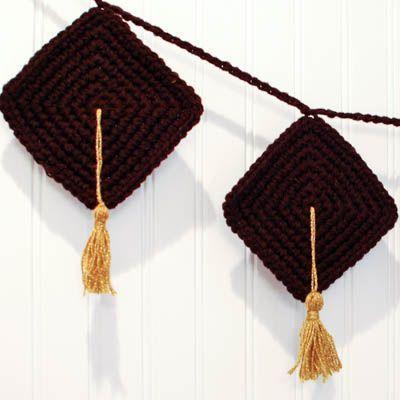 Crafty Graduation Decor ... Crochet Bunting Pattern | http://www.petalstopicots.com