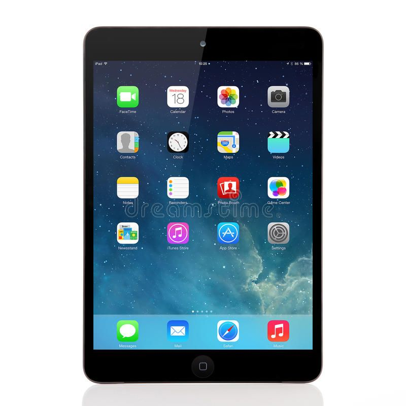 New operating system IOS 7 screen on iPad mini Apple. Kiev