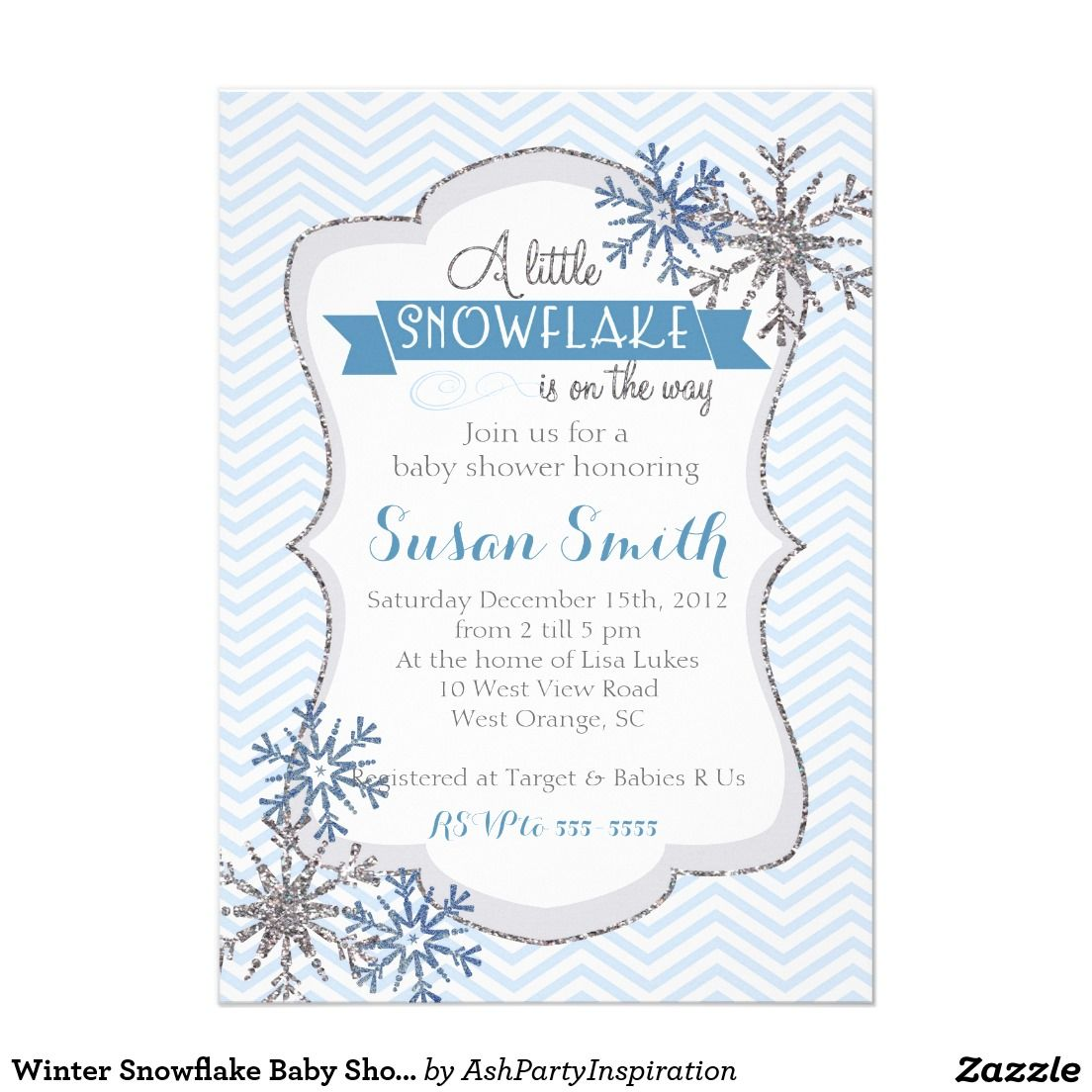 Winter Snowflake Baby Shower invitation | Baby Shower Invitations ...