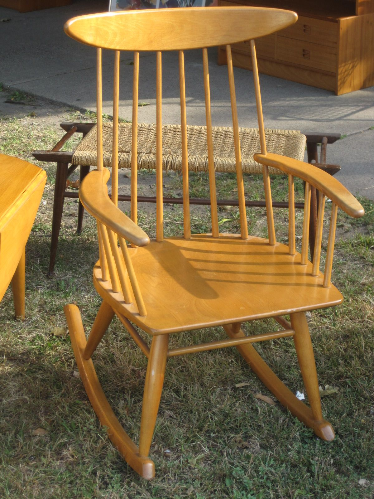 burnt orange rocking chair cushions hanging walmart russel wright maple made by conant ball for