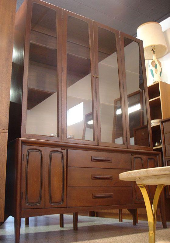 Mid Century Modern Walnut Broyhill Premier Breakfront Hutch FurnitureDining RoomsDining