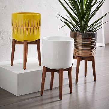 midcentury turned leg standing planters solid