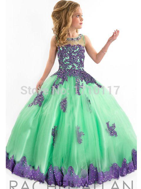 2015 Niñas Vestidos Del Desfile Del vestido de Bola Cuello Alto Azul ...