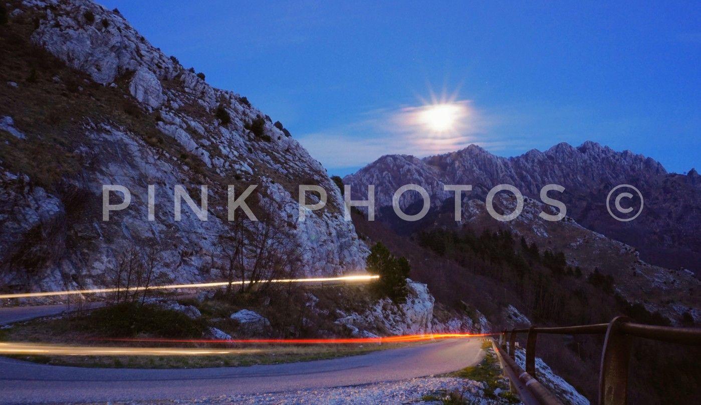 #night #car #light #apuanalps #mountains #mountain #alps #apuane #alpiapuane #street #carlights #nightmountain #moon #nightscene