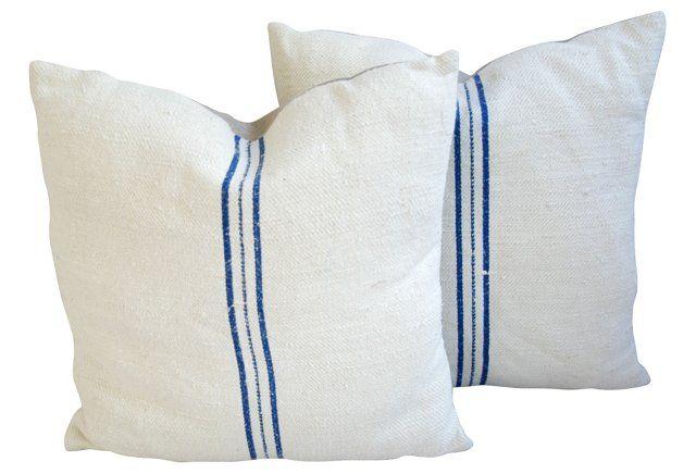 French Grain   Sack & Linen Pillows, Pr