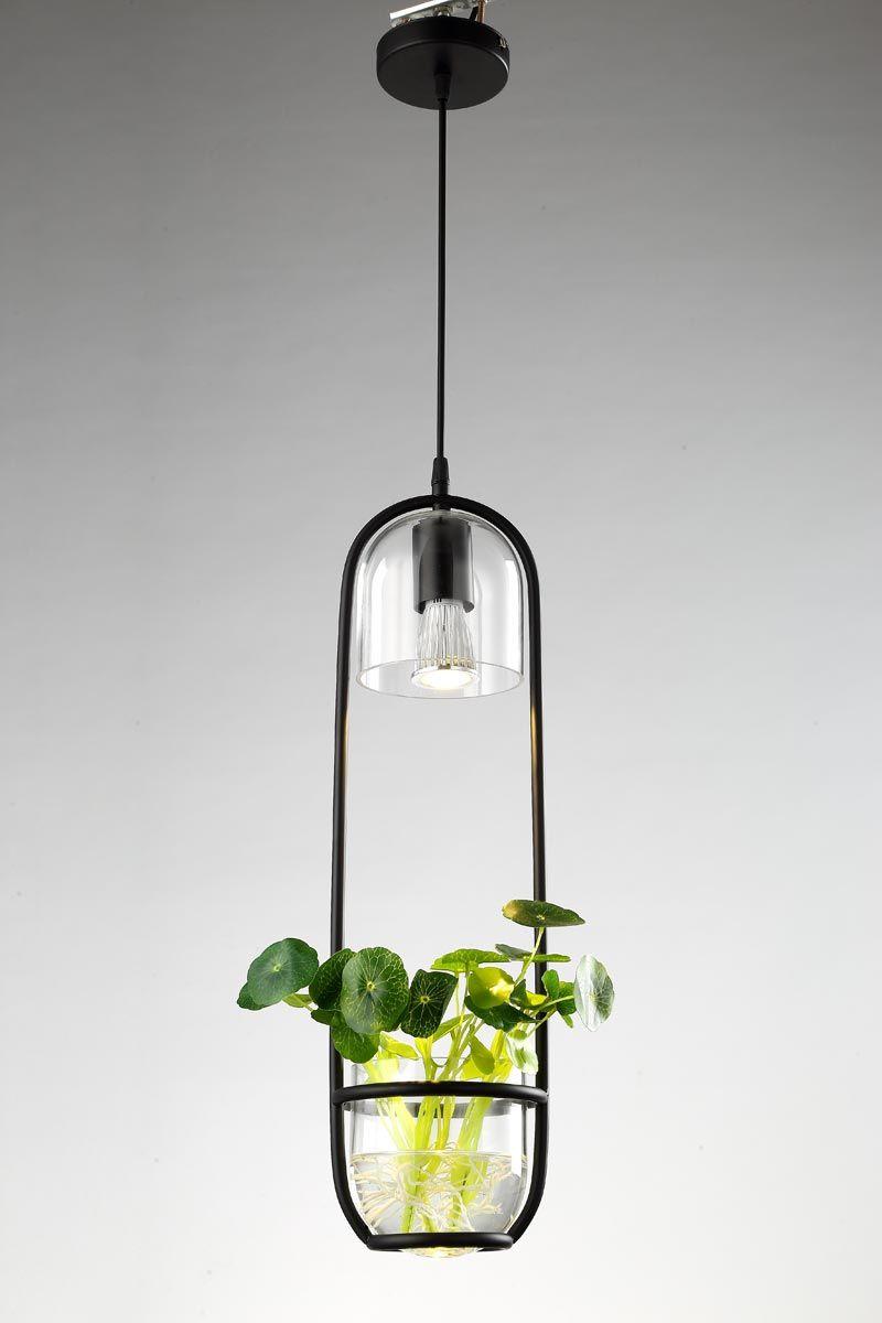 Plafonnier avec abat jour en verre et décor plante (CR