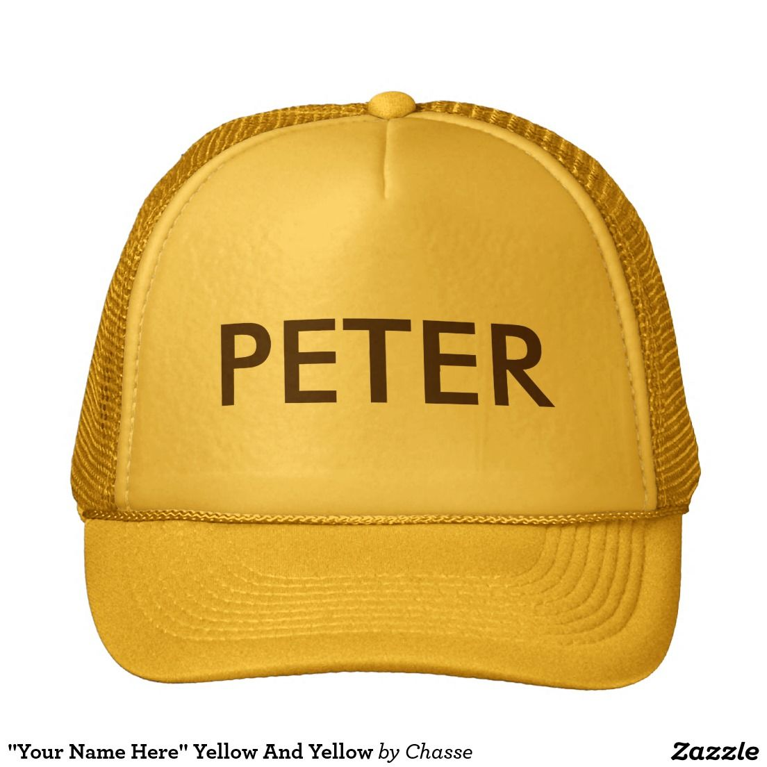 """Your Name Here"" Yellow And Yellow Trucker Hat. Ready for customization.  Choose your style and feel free to add your name,  text or to delete the text layer."