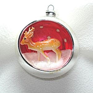 Glass Reindeer Diorama Scene Indent Christmas Ornament Christmas Ornaments Antique Christmas Ornaments Vintage Christmas Ornaments
