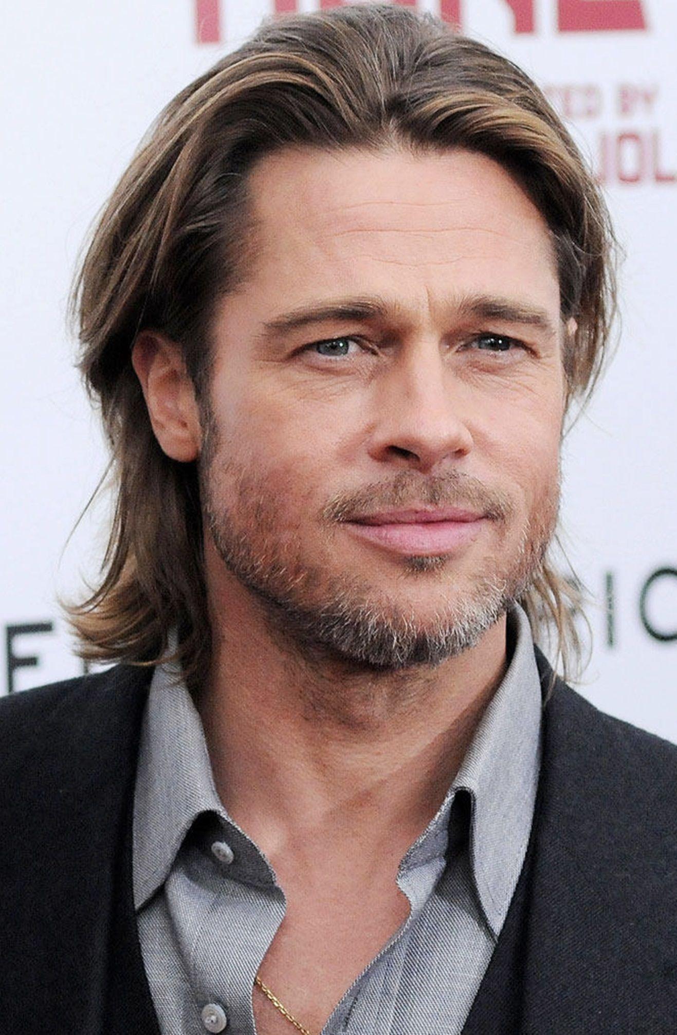 Brad Pitt With Long Hair Brad Pitt Brad And Angelina Long Hair Styles Men