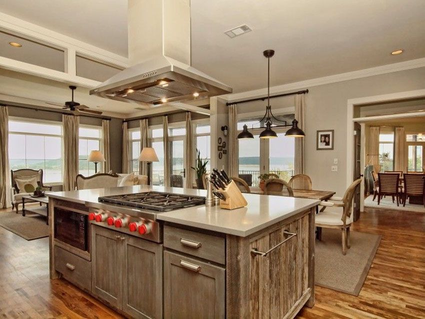 Kitchen With Reclaimed Barn Wood Cabinet Island