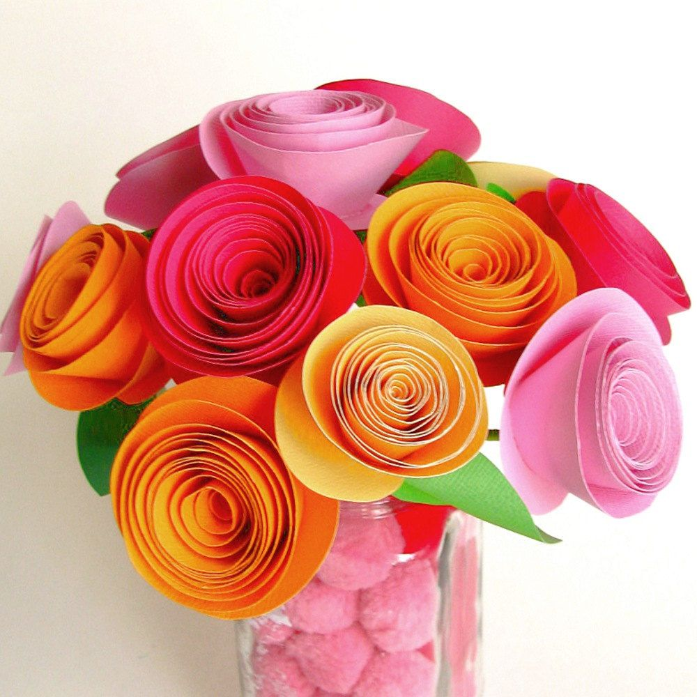 DIY Paper Flower Bouquet Pink And Orange LARGE Flower Kit Bridesmaid Mothers Day Craft