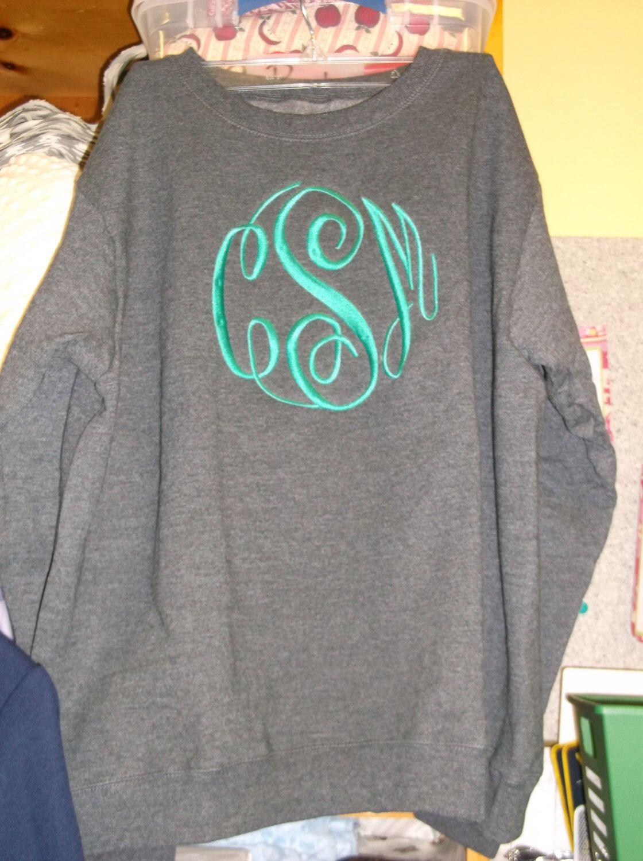 Adult Monogrammed Sweatshirts by BagLadies3 on Etsy https://www.etsy.com/listing/170402902/adult-monogrammed-sweatshirts