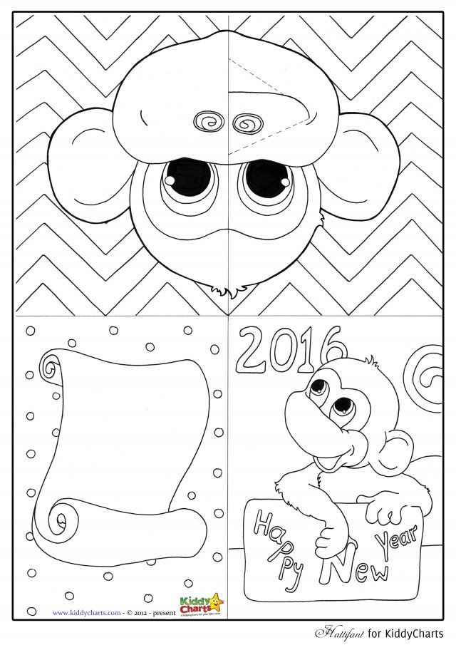 Free monkey pop up card template and monkey colouring page - new year greeting card template