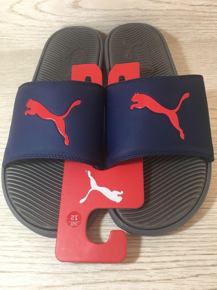 e73dca64da30 Puma Men Size 12 Navy Red Flip Flop Sport Thong Slides Beach Sandals New   30.00