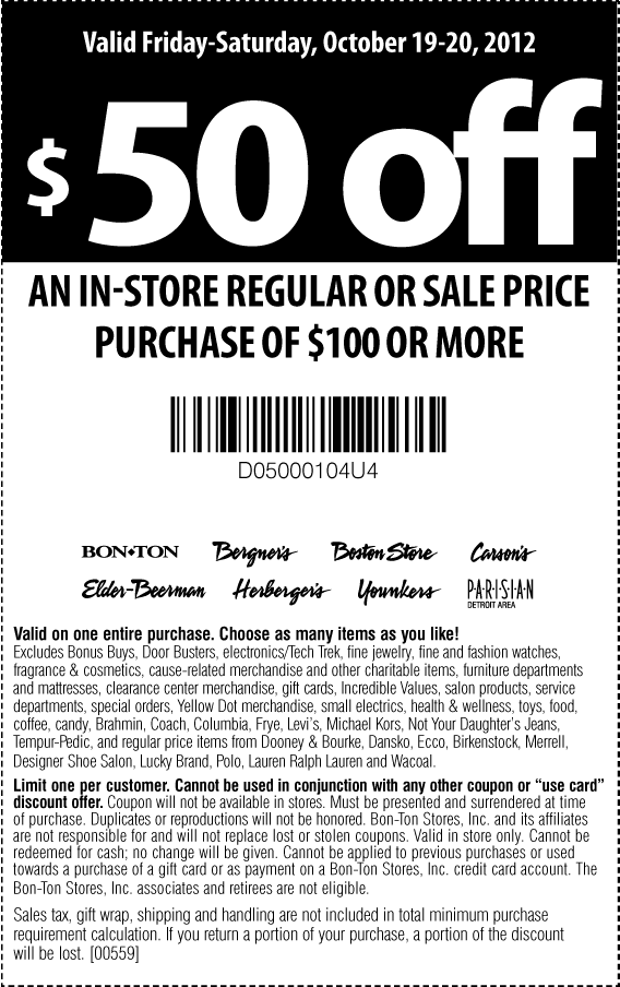 graphic regarding Carsons in Store Coupons Printable titled $50 off $100 currently at Bergners, Bon Great deal, Boston Retailer
