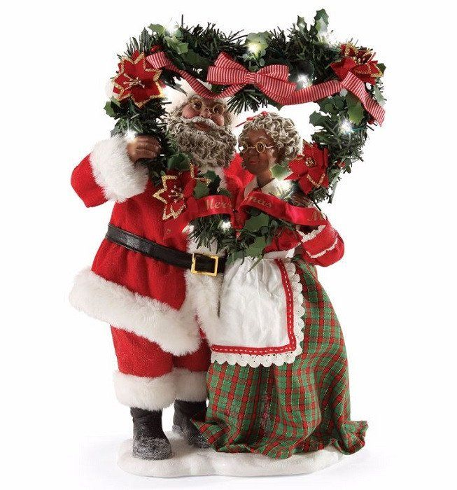 Evergreen love african american mr and mrs santa claus
