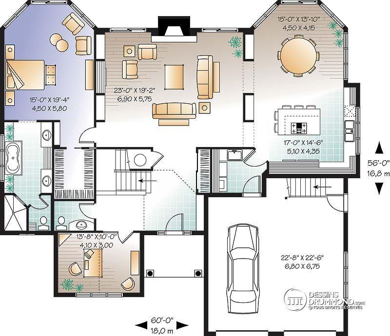 Détail du plan de Maison unifamiliale W3607 belle maison