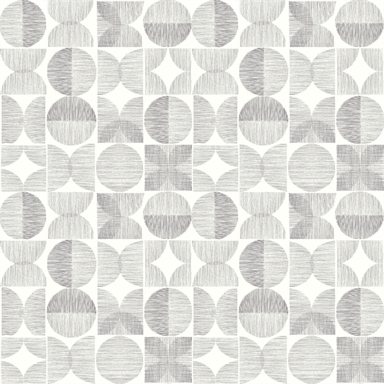 Arthouse Retro Circle Geometric Smooth Grey Wallpaper in