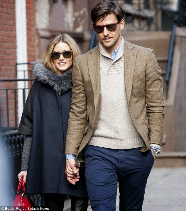 Olivia Palermo & Johannes Huebl #navybluecoat #fur #redbag #beigejacket #bluepants #beigesweater