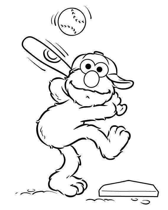 Elmo Playing Baseball Coloring Page