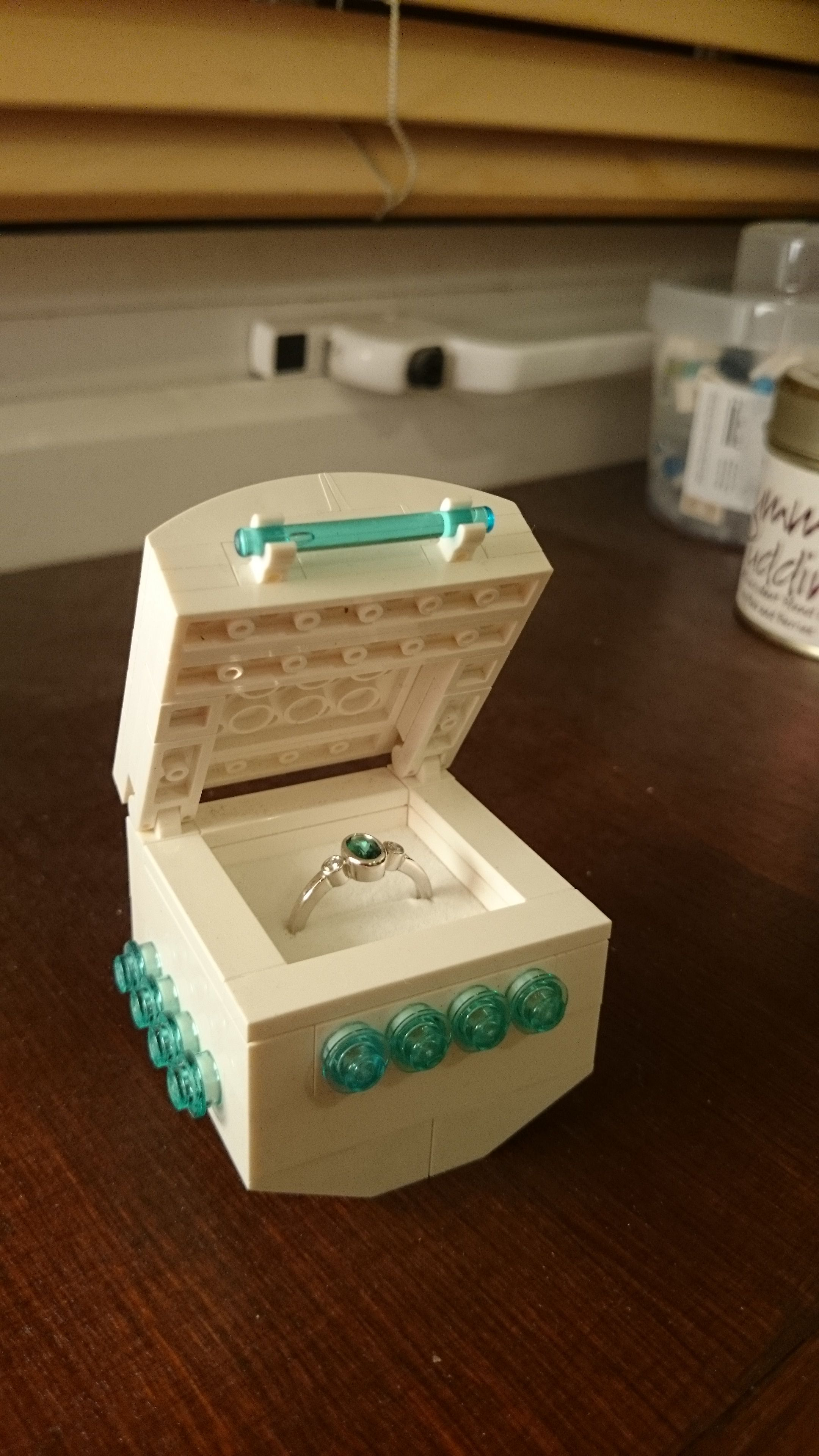 The amazing ring and Lego ring box Greg made for me