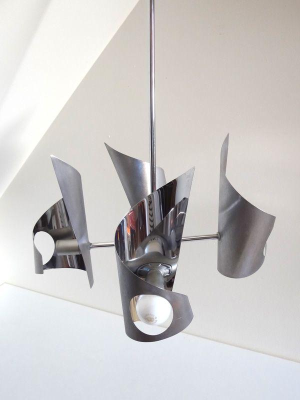 Lustre Design Annees 70 En Metal Brosse Et Chrome Lamponettes