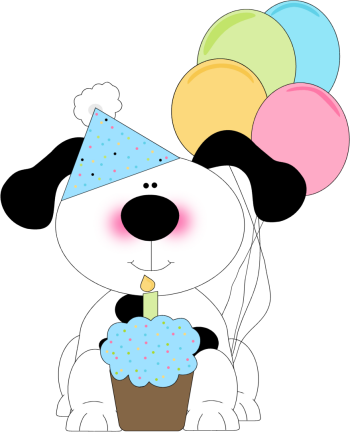 Happy Birthday Dog Clipart : happy, birthday, clipart, Birthday, Cupcake, Balloons, Coloring, Page,