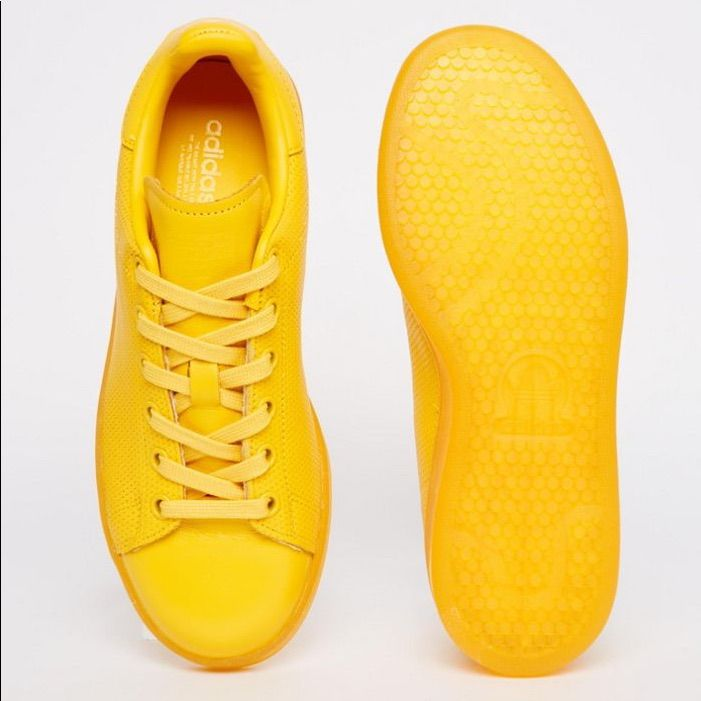 Yellow Adidas leather sneakers running