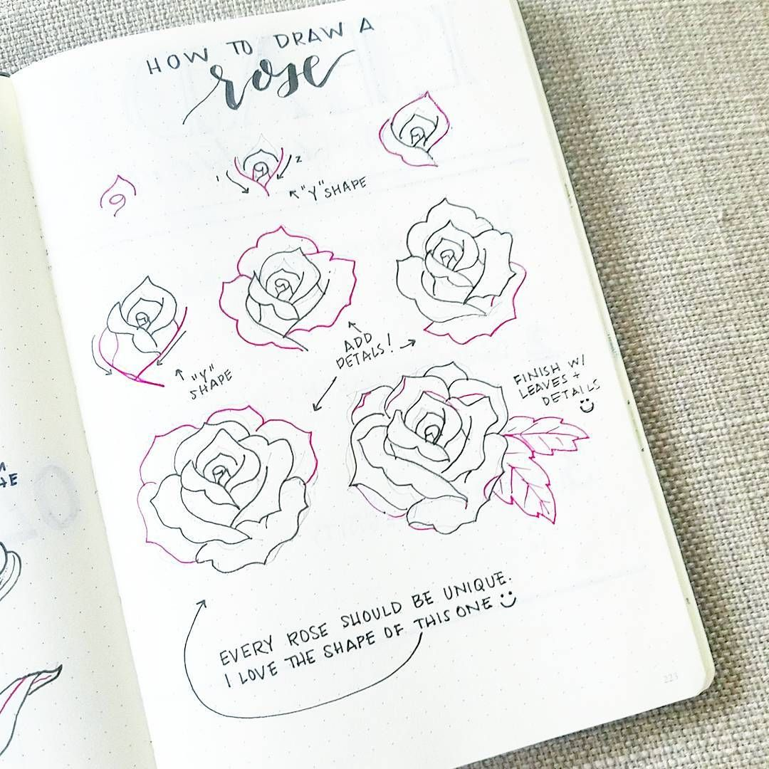 There Are About A Dozen Different Ways You Can Draw Roses I M Showing You The Top 5 Ways On How To Draw Ros Roses Drawing Flower Drawing Bullet Journal Set Up