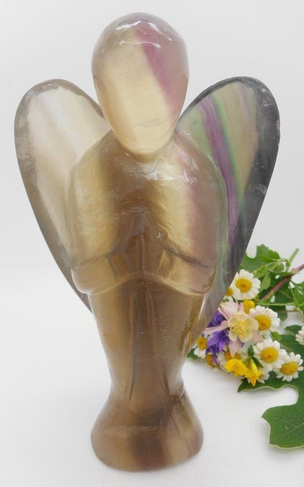 Natural Fluorite Gemstone Carved Crystal Figurine 2 Inch Peace Angel