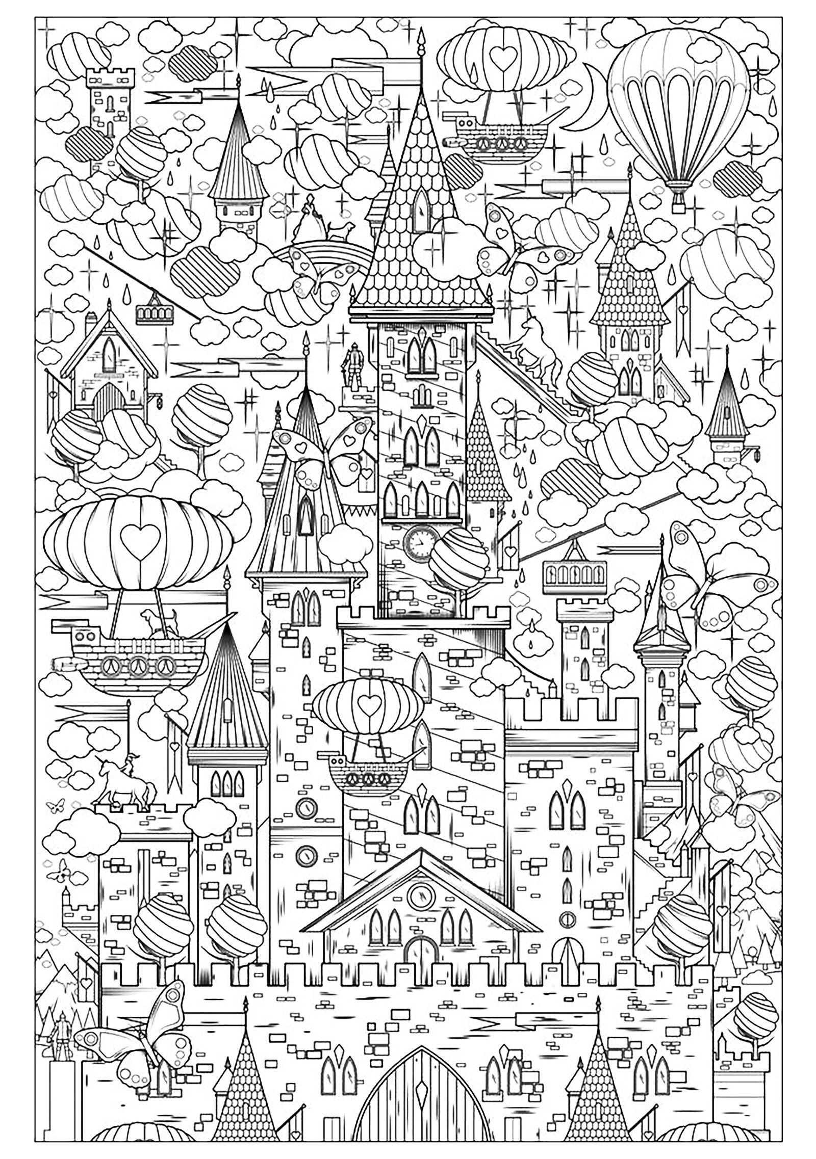 Schwierige Ausmalbilder Für Erwachsene Landschaften : An Incredible Castle From The Gallery Architecture Living