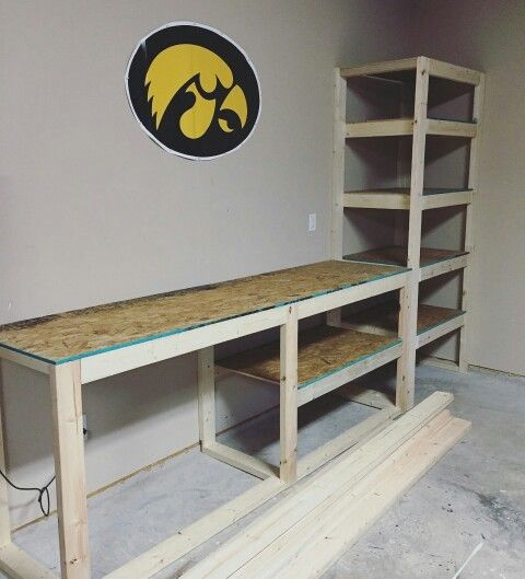 Garage storage shelving and work table our projects for Diy garage shop