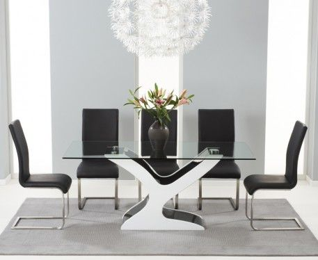 Nevada 180cm Black And White High Gloss And Glass Dining Table