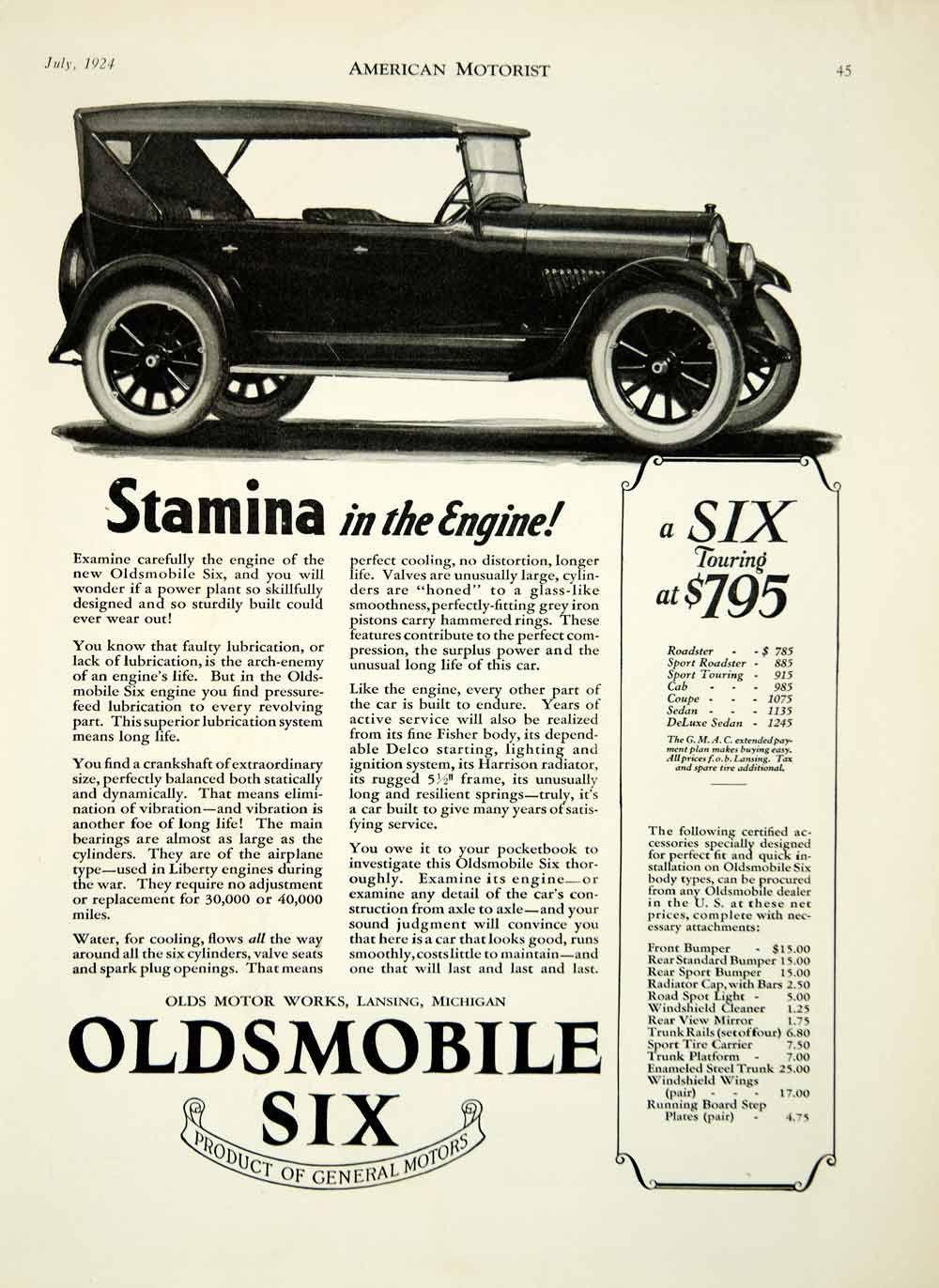 ad oldsmobile six olds general motors works lansing michigan car am2