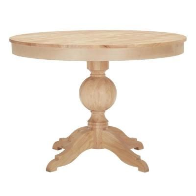 Stylewell Unfinished Wood Round Pedestal Table For 4 42 In L X