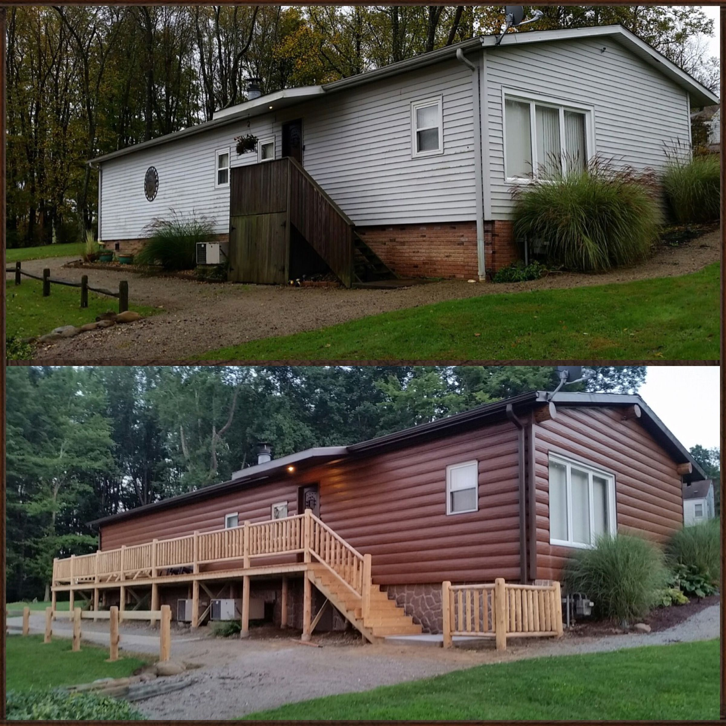 Before And After Picture Of Vinyl To Steel Log Siding Red Cedar Siding That Is Maintenance Free Mobile Home Exteriors Home Exterior Makeover Mobile Home Porch