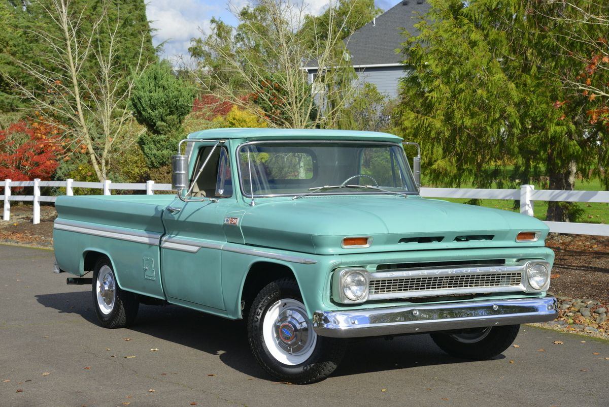this 1965 chevrolet c20 is a fleetside pickup powered by a 305ci v8 mated [ 1200 x 801 Pixel ]