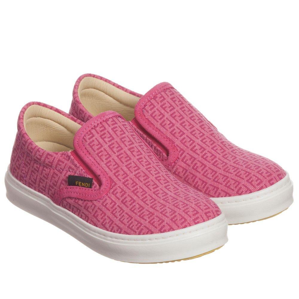 1dc3d971183 Fendi Girls Pink Canvas 'FF' Logo Slip-On Shoes at Childrensalon.com ...