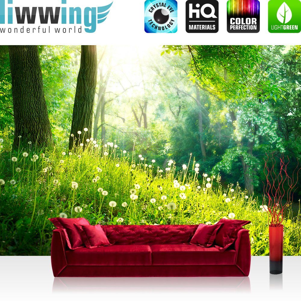 vlies fototapete premium plus 400x280cm sunny forest by liwwing r vliestapete tapete tapeten. Black Bedroom Furniture Sets. Home Design Ideas
